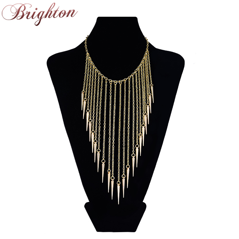 2014 New Jewelry European Style Vintage Trench Fashion Necklace Rivet Long Tassel Collar Punk