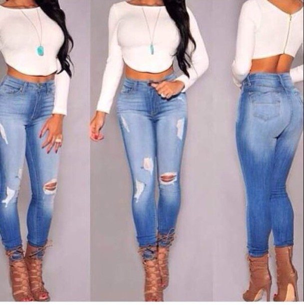 d00ede0bd30 2015 high waist skinny tight long jeans pencil Stretch ripped Denim pants  plus size for womans woman female