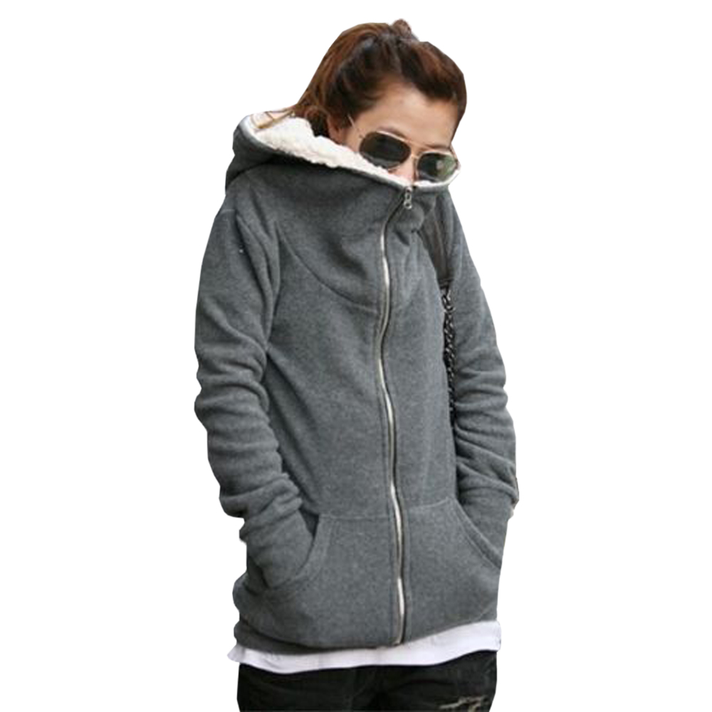 Womens Winter Autumn Zipper Jacket Sweatshirt Hoodie