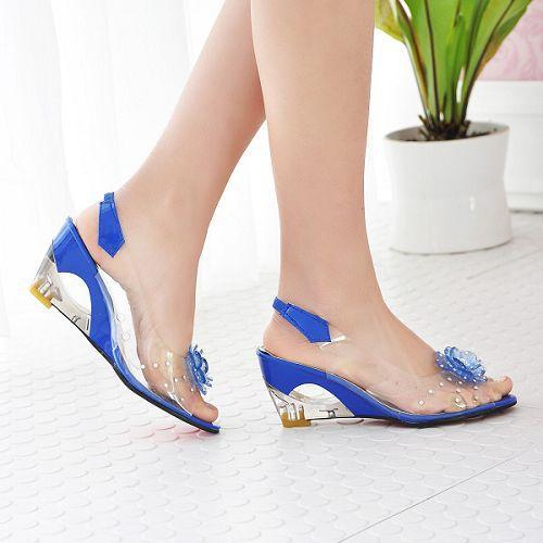 7dd8a3e4b01a 2017 Hot Sale Crystal Wedges Transparent Women high-heeled Sandals Plus  Size 40-43 rhinestone Peep Toe Jelly Shoes