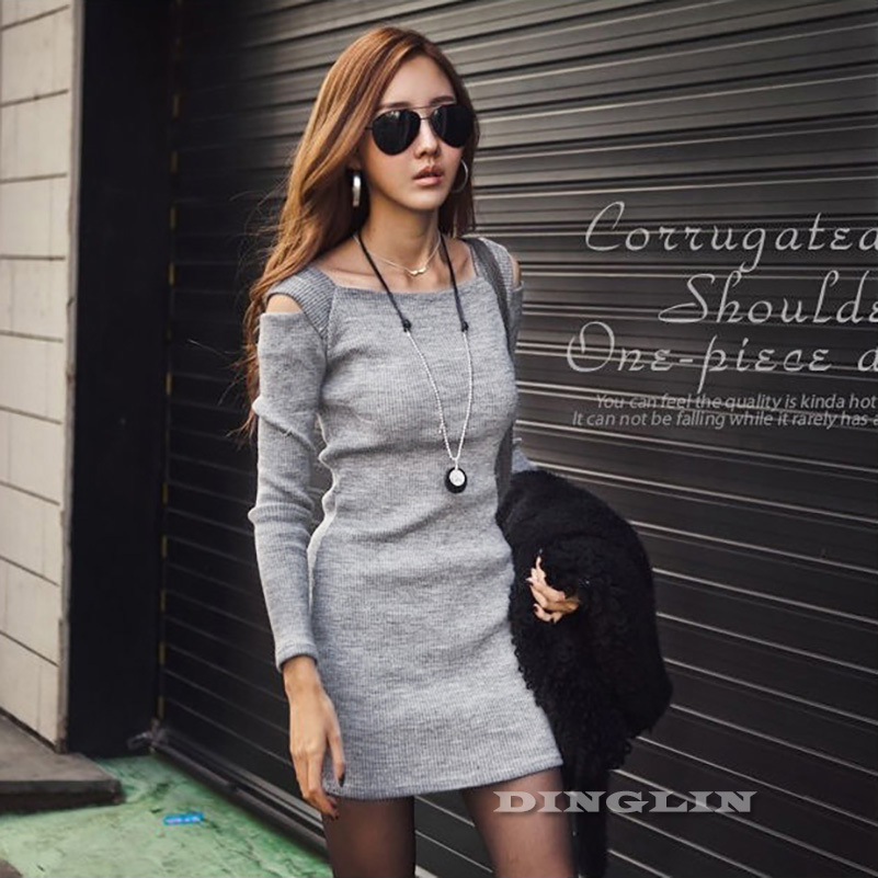 f746ee257121 Korean Women Ladies Autumn Off Shoulder Long Sleeve Knit Elastic Slim Casual  Novelty Mini Dress ...