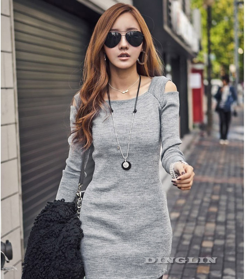 ce2b62788de Korean Women Ladies Autumn Off Shoulder Long Sleeve Knit Elastic Slim Casual  Novelty Mini Dress ...