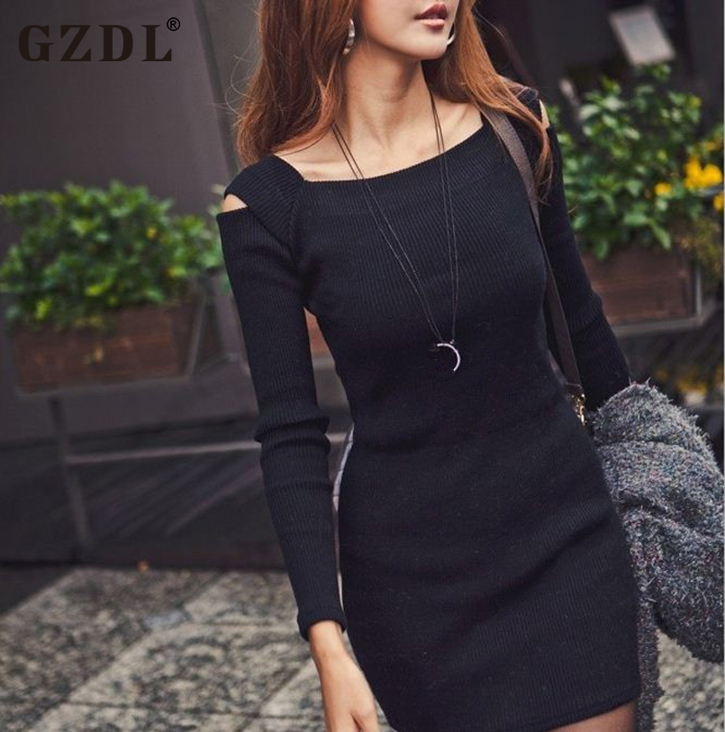 e61ec2f884 Korean Women Ladies Autumn Off Shoulder Long Sleeve Knit Elastic Slim  Casual Novelty Mini Dress Knitwear S M Free Shipping 1114