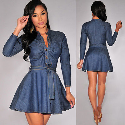 7e2c052f04 2015 Fashion Women Slim Fit Denim Jean Dress Plus Size Bowknot Belt Long Sleeve  Dresses