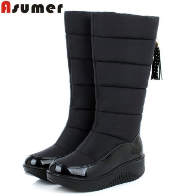 3a12586bc83df AISIMI new arrive winter warm snow boots fashion platform fur cotton shoes  flat heels knee high boots women pu leather boots