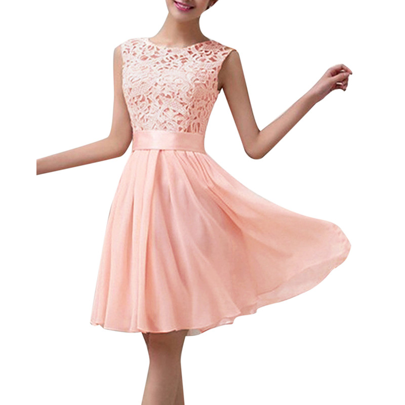 9f1537939a2 4 Colors 2015 New Women Summer Dress Sleeveless Elegant Lace Chiffon  Princess Knee Length Party Dresses Vestidos