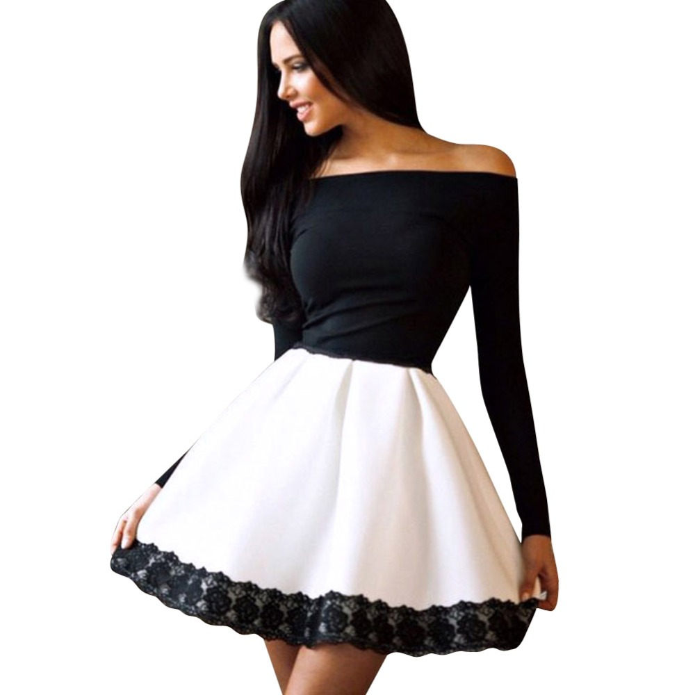 Fashion Women Lace Color Matching Off Shoulder Long Sleeve ...
