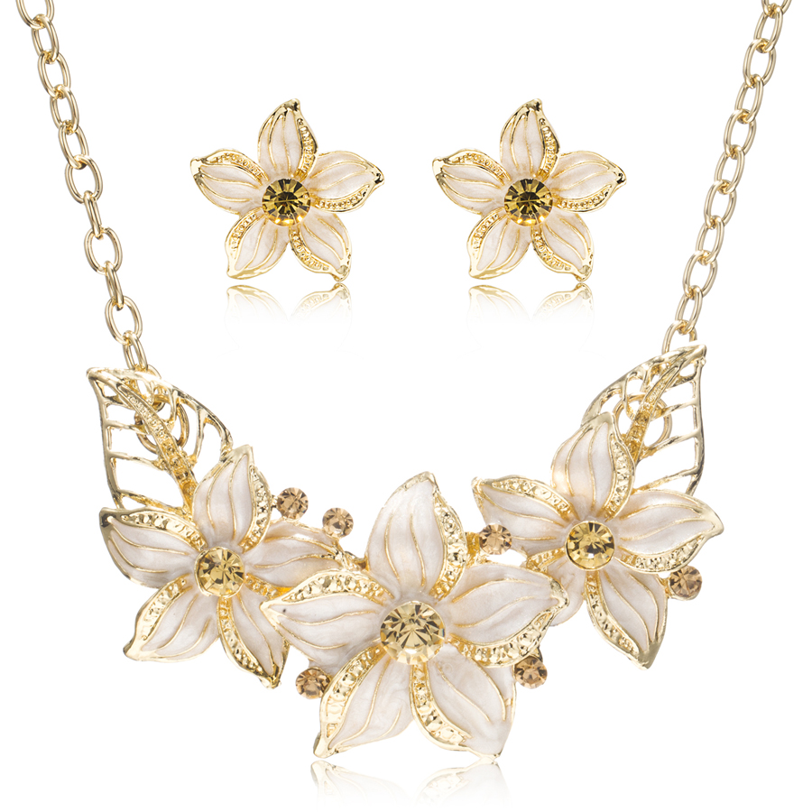 Cz rhinestone Enamel Flowers Jewelry Sets Gold plating ...