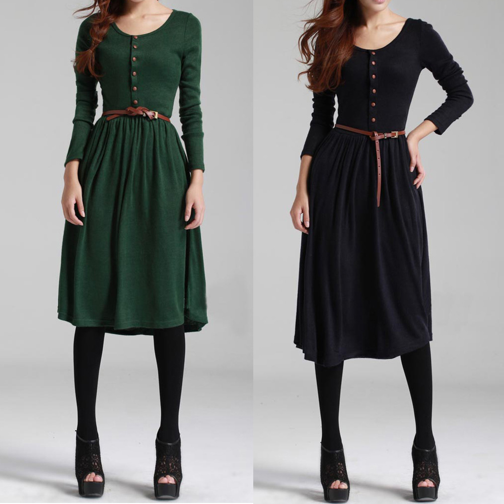 hot vintage retro style women 39 s long sleeve dresses long knits bottoming dress solid color reeto 39 s. Black Bedroom Furniture Sets. Home Design Ideas