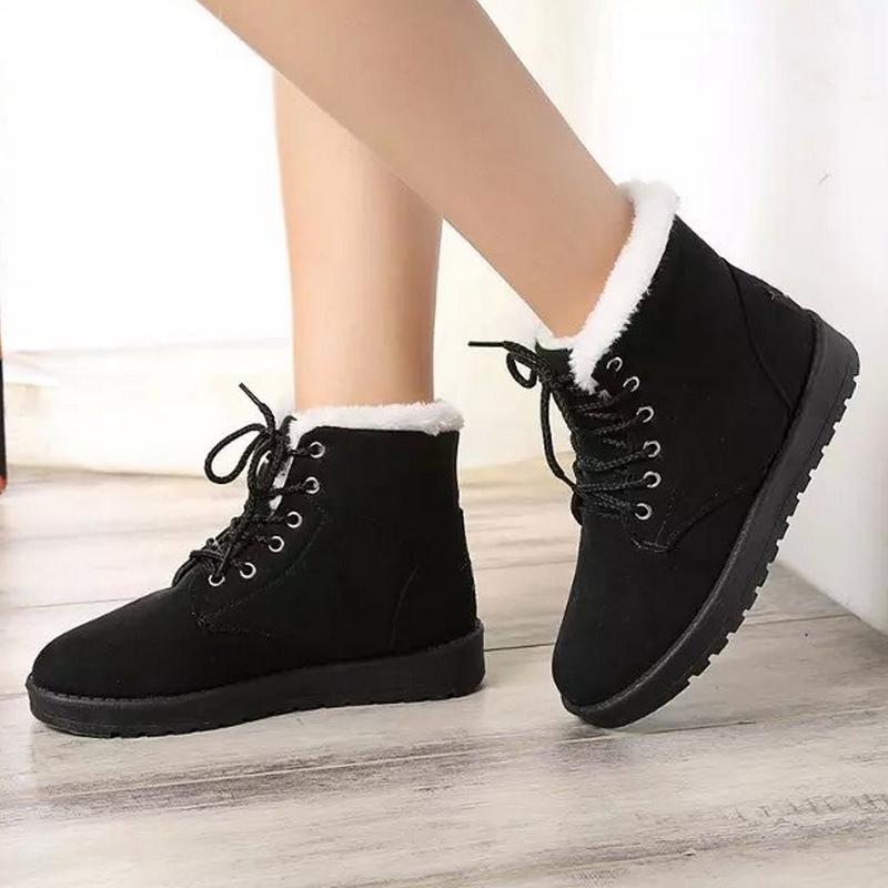 Size 35-40 Women Cross Strap Plush Flat Ankle Boots Half Short ...