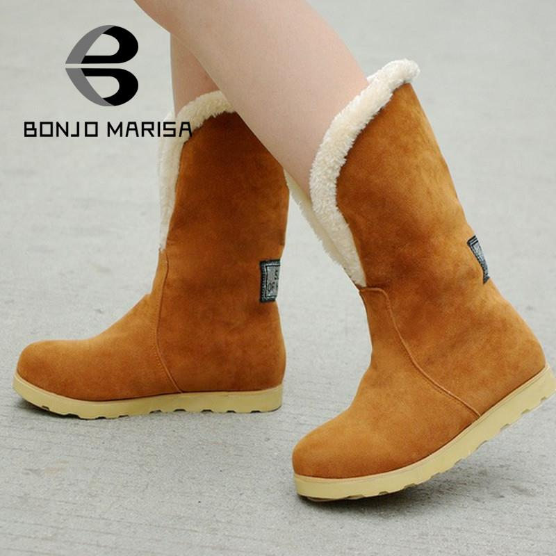 a51418765ed Snow Boots 2015 Big Size 34-43 Fashion Women Warm Boots Flat Heels Round  Toe Platform Spring Winter Mid-calf Boots Fur Shoes