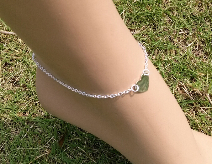 12847559224 Summer Beautiful Women Heart Foot Accessories Gold Chain Anklet adjustable  charm Anklets Foot Jewelry Fashion
