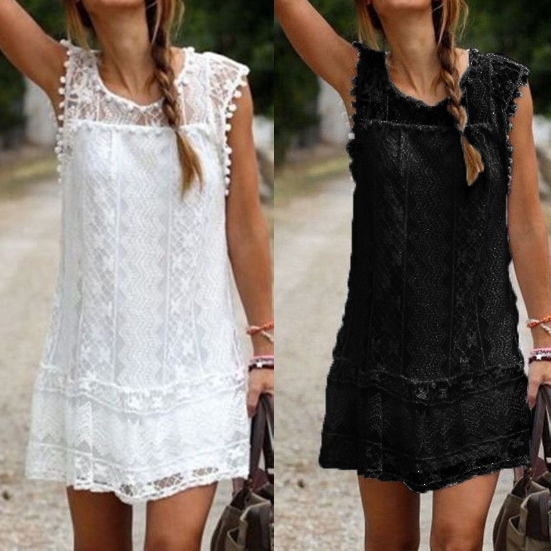 a5e97b2de7b7 Summer Dress 2016 Sexy Women Casual Sleeveless Beach Short Dress Tassel  Solid White Mini Lace Dress Vestidos Plus Size