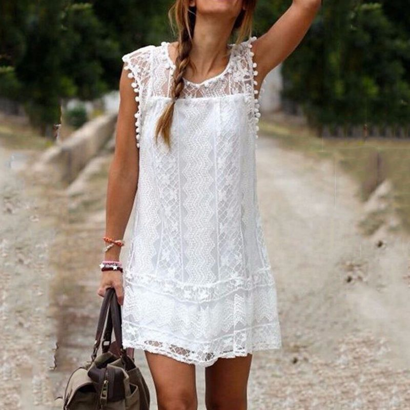 bc5a9961b41 Summer Dress 2016 Sexy Women Casual Sleeveless Beach Short Dress Tassel  Solid White Mini Lace Dress Vestidos Plus Size