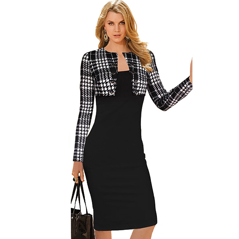 f20d15d88285 Winter dress Long Sleeve 2014 Button office business Elegant Womens wear to work  Vintage Pinup Bodycon Evening party Dresses