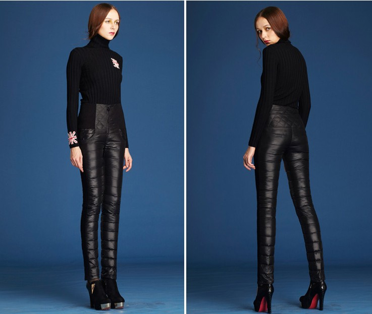 2014 Fashion Winter Women High Waist Down Pants Trousers Formal Slim Thick Outer Wear Warm ...
