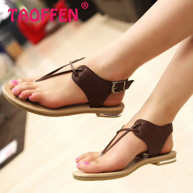 bff778c4dc65 TAOFFEN Women s Real Natural Genuine Leather Flat Sandals Bohemia Slippers  Summer Beach Sandals Ladies Shoes Size 34-43 R5744