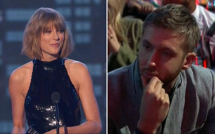 Calvin Harris looks teary-eyed as girlfriend Taylor Swift thanks him after winning big at music awards