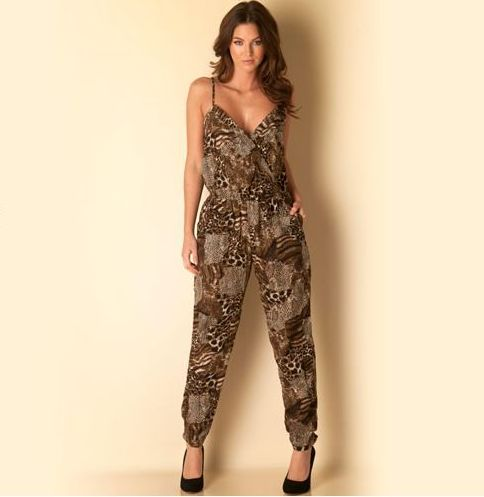 Womens Animal Print Jumpsuit
