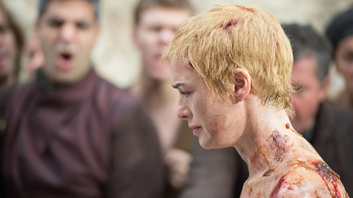 "Shorn and stripped naked, Cersei was forced to walk through the streets of King's Landing as a Septa behind her shouted ""Shame, Shame"". While confessing to adultery with her cousin Lancel, she kept quiet about the long affair with her brother Jaime."
