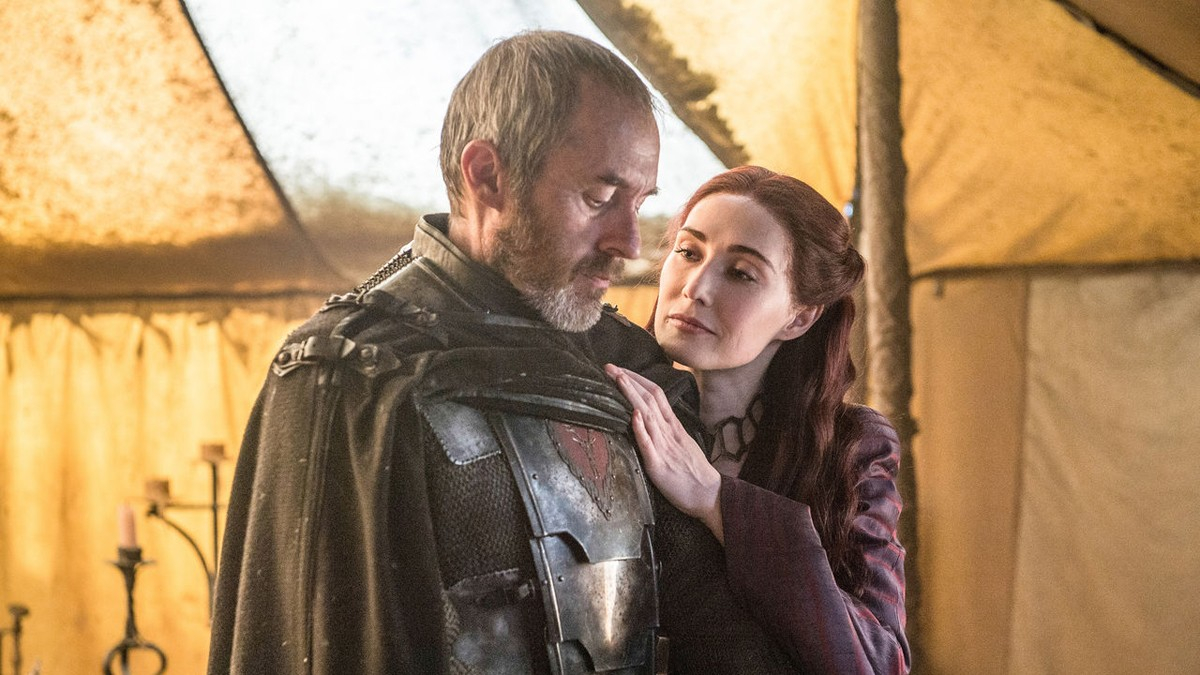 In episode nine, Stannis Baratheon burnt his only daughter at Melisandre's behest on the hope that it would bring him luck in his coming raid on Winterfell. Here, he mourns her death, a broken man. His raid later failed, and he was beheaded by Brienne of Tarth in retribution for killing his younger brother, Renly. Credits: HBO