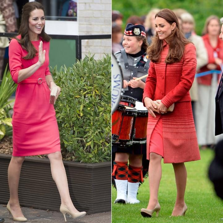 Some of Kate's safe sartorial choices CREDIT: REX