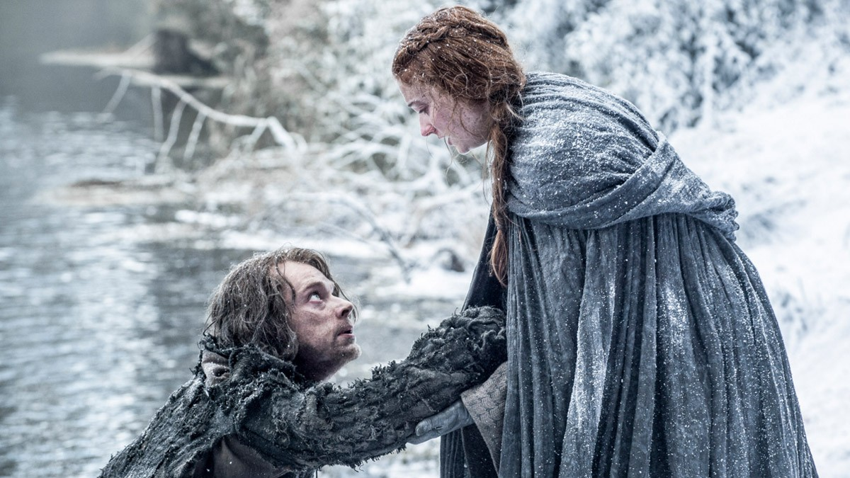Sansa Stark and Theon Greyjoy (Sophie Turner and Alfie Allen) appear to have survived their jump off the wall at Winterfell Credits: HBO