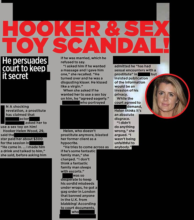 Outed: This is the article printed in the US - an injunction in England means the star's details cannot be shown Read more: http://www.dailymail.co.uk/news/article-3573866/Now-family-man-actor-outed-publication-having-slept-Wayne-Rooney-prostitute-named-social-media-despite-gagging-order.html#ixzz47n9JTHyi Follow us: @MailOnline on Twitter   DailyMail on Facebook
