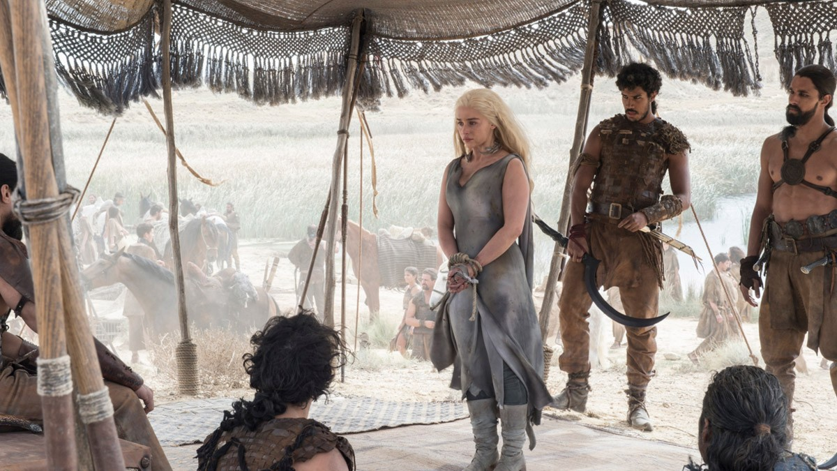 Daenerys Targaryen (Emilia Clarke) appears to have been captured by a Dothraki clan. Credits: HBO