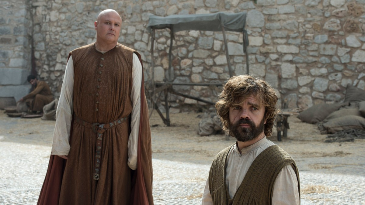 Varys and Tyrion Lannister (Conleth Hill and Peter Dinklage) were last seen in Meereen, trying to rule the city with Grey Worm and Missandei in the absence of Daenerys Targaryen. Credits: HBO