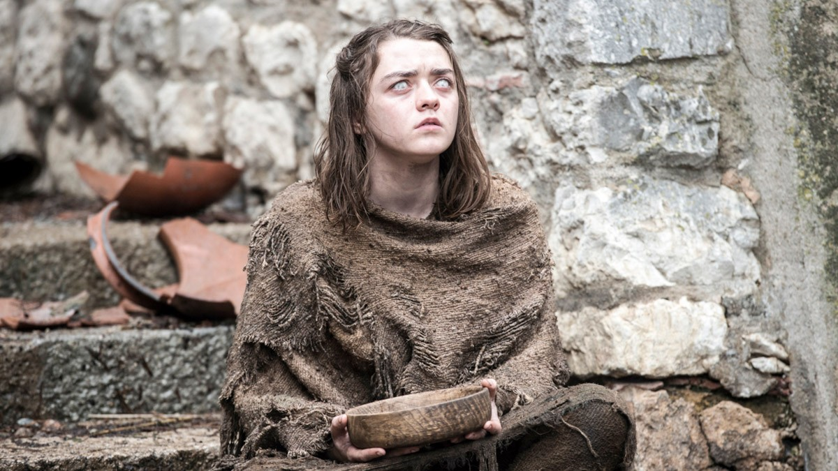 Arya Stark (Maisie Williams) is still blind and dressed in rags Credits: HBO