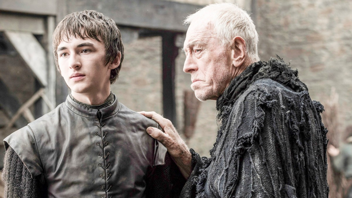 Bran Stark (Isaac Hempstead Wright), seen here with the Three-Eyed Raven (Max von Sydow), has returned and looks as if he might be standing up again. Credits: HBO