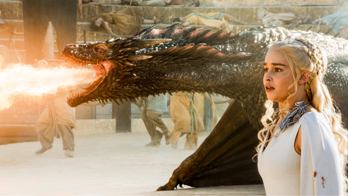 As the fifth series of Game of Thrones drew to a climax, Danaerys was surrounded at the fighting pits by a militant group called the Sons of the Harpy. Sensing its mother's need, Dany's previously missing dragon, Drogon, appeared and burned the threat to a crisp. Daenerys then climbed on his back, and the two flew off together. Drogon was wounded, however, and could not fly Dany back to Meereen. In the final episode of the season, she left her dragon to find food and was abducted by a band of Dothraki bloodrunners. Credits: HBO